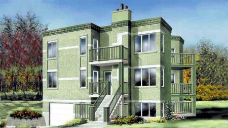 Multi-Family Plan 52430 Elevation