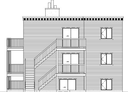 Rear Elevation of Plan 52430