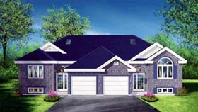 Multi-Family Plan 52432 with 4 Beds, 2 Baths, 2 Car Garage Elevation