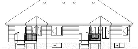 Multi-Family Plan 52432 with 4 Beds, 2 Baths, 2 Car Garage Rear Elevation
