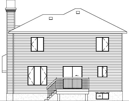 Rear Elevation of Plan 52450