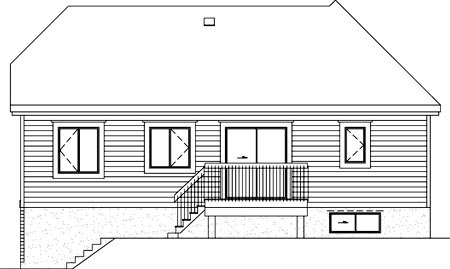 Rear Elevation of Plan 52469