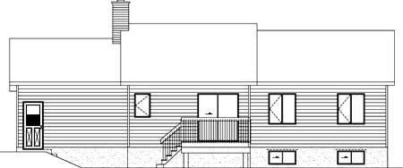Rear Elevation of Plan 52470