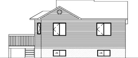 House Plan 52472 | Style Plan with 908 Sq Ft, 2 Bedrooms, 1 Bathrooms Rear Elevation