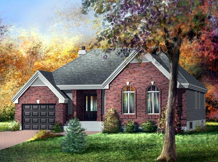 House Plan 52482 with 3 Beds, 1 Baths, 1 Car Garage Elevation