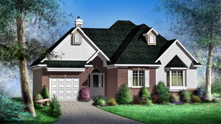 House Plan 52484 with 2 Beds, 1 Baths, 1 Car Garage Elevation