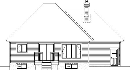 House Plan 52484 with 2 Beds, 1 Baths, 1 Car Garage Rear Elevation