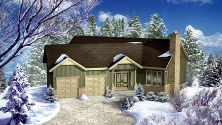 House Plan 52491 | Style Plan with 1553 Sq Ft, 2 Bedrooms, 2 Bathrooms, 2 Car Garage Elevation