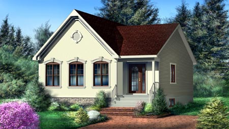 House Plan 52493 with 2 Beds, 1 Baths Elevation