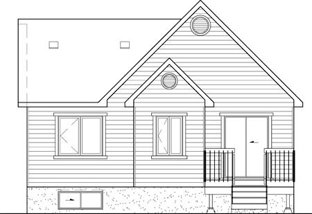 House Plan 52493 with 2 Beds, 1 Baths Rear Elevation