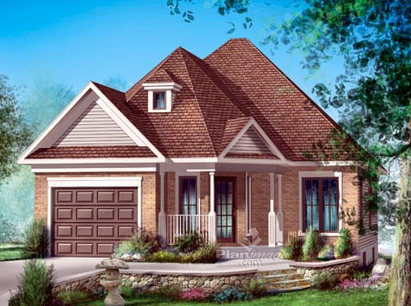 House Plan 52495 with 2 Beds, 1 Baths, 1 Car Garage Elevation