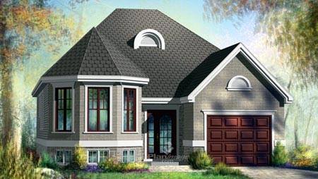 House Plan 52499 with 2 Beds, 1 Baths, 1 Car Garage Elevation