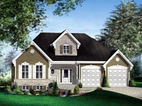 House Plan 52501 | Style Plan with 1566 Sq Ft, 1 Bedrooms, 1 Bathrooms, 2 Car Garage Elevation