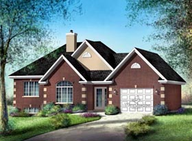 House Plan 52502 with 2 Beds, 1 Baths, 1 Car Garage Elevation