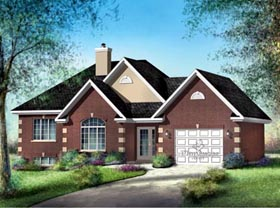 House Plan 52503   Style Plan with 1172 Sq Ft, 3 Bedrooms, 1 Bathrooms, 1 Car Garage Elevation