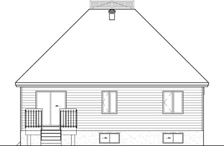 House Plan 52510 | Style Plan with 1154 Sq Ft, 2 Bedrooms, 1 Bathrooms Rear Elevation