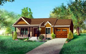 House Plan 52515 | Style Plan with 806 Sq Ft, 2 Bed, 1 Bath, 1 Car Garage Elevation