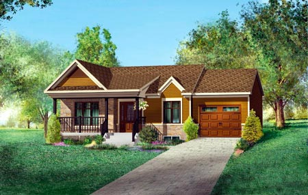 House Plan 52515 with 2 Beds, 1 Baths, 1 Car Garage Elevation