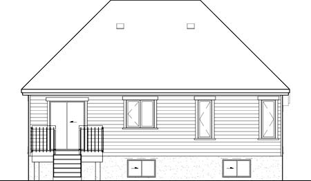 Rear Elevation of Plan 52516