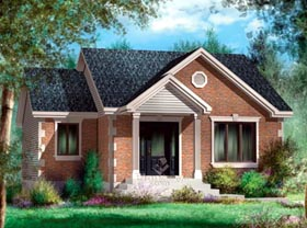 House Plan 52517 | Style Plan with 984 Sq Ft, 2 Bedrooms, 1 Bathrooms Elevation