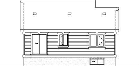 House Plan 52517 | Style Plan with 984 Sq Ft, 2 Bedrooms, 1 Bathrooms Rear Elevation