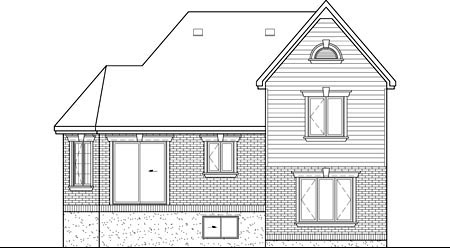 Rear Elevation of Plan 52518