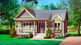 House Plan 52519 with 2 Beds, 1 Baths Elevation