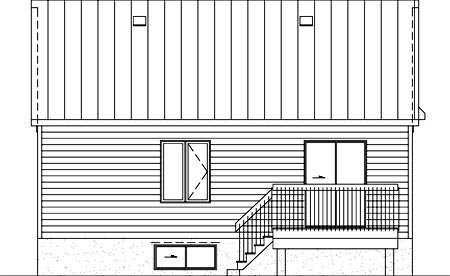 Rear Elevation of Plan 52519
