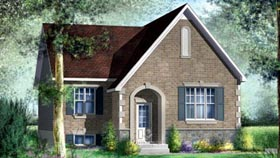 House Plan 52520 | Style Plan with 1095 Sq Ft, 2 Bedrooms, 1 Bathrooms Elevation