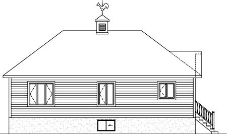 House Plan 52529 with 3 Beds, 1 Baths Rear Elevation