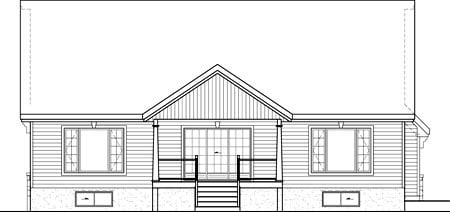 Rear Elevation of Plan 52530