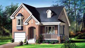 House Plan 52531 with 3 Beds, 2 Baths, 1 Car Garage Elevation
