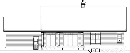 House Plan 52535 with 4 Beds, 3 Baths, 2 Car Garage Rear Elevation