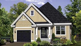House Plan 52545 with 3 Beds, 1 Baths, 1 Car Garage Elevation