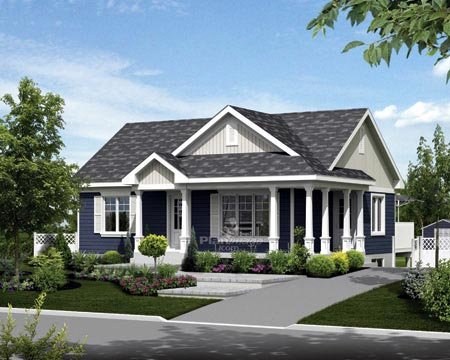 House Plan 52549 with 2 Beds, 1 Baths Elevation