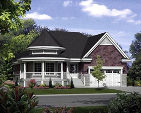 House Plan 52554 | Style Plan with 1595 Sq Ft, 3 Bedrooms, 2 Bathrooms, 2 Car Garage Elevation