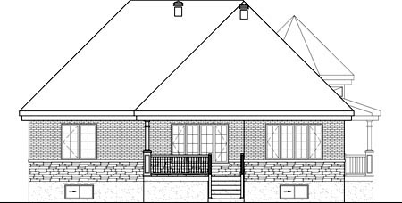 House Plan 52554 with 3 Beds, 2 Baths, 2 Car Garage Rear Elevation