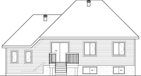 House Plan 52560 | Style Plan with 1251 Sq Ft, 3 Bedrooms, 1 Bathrooms, 1 Car Garage Rear Elevation