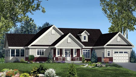 House Plan 52561 with 4 Beds, 3 Baths, 2 Car Garage Elevation