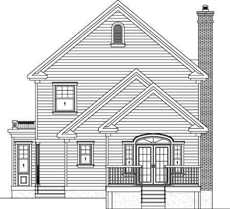 House Plan 52565 | Style Plan with 2422 Sq Ft, 3 Bedrooms, 3 Bathrooms Rear Elevation