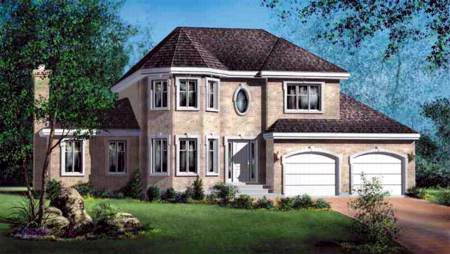 House Plan 52571 with 4 Beds, 3 Baths, 2 Car Garage Elevation