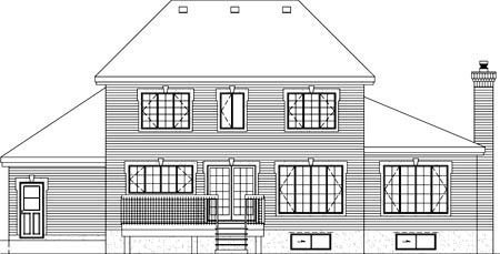 House Plan 52571 with 4 Beds, 3 Baths, 2 Car Garage Rear Elevation
