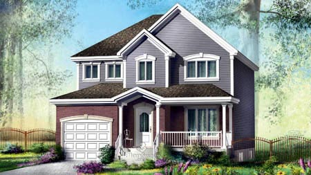 House Plan 52574 with 4 Beds, 2 Baths, 1 Car Garage Elevation