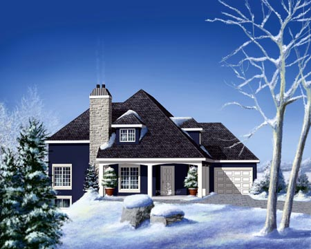House Plan 52575 | Style Plan with 2196 Sq Ft, 4 Bedrooms, 3 Bathrooms, 1 Car Garage Elevation