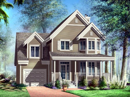 House Plan 52577 with 3 Beds, 2 Baths, 1 Car Garage Elevation