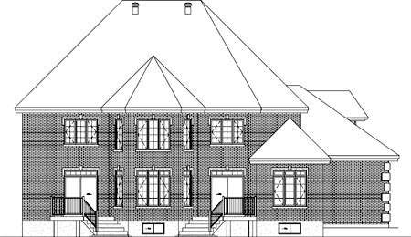 House Plan 52590 with 3 Beds, 5 Baths, 2 Car Garage Rear Elevation