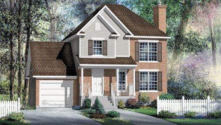 House Plan 52604 with 3 Beds, 2 Baths, 1 Car Garage Elevation
