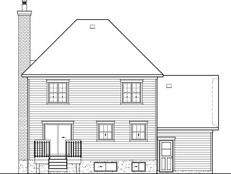 Rear Elevation of Plan 52604