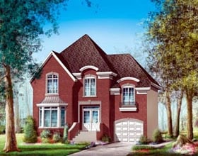 House Plan 52612 with 3 Beds, 2 Baths, 1 Car Garage Elevation