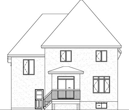 Rear Elevation of Plan 52612